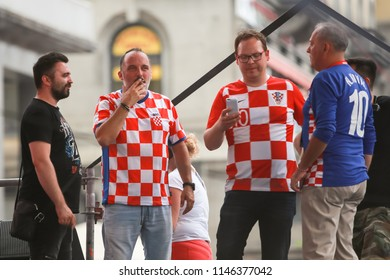 ZAGREB,CROATIA -JULY 16, 2018 :Croatia National Football Team welcome home celebration.Croatian musician and singer Tony Cetinski, HRT journalist and tv host Frano Ridjan and Mirko Fodor on the stage.
