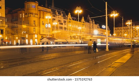 Zagreb,Croatia- October 21st 2019:  Long exposure shot of urban scene of busy city center of Zagreb, Croatia. Ban Jelacic square is the transportation central of Zagreb, the capital of Croatia.
