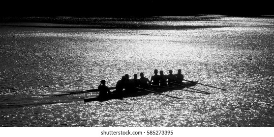 ZAGREB,CROATIA-2015:Unidentified people boats racing. Rowing B&W
