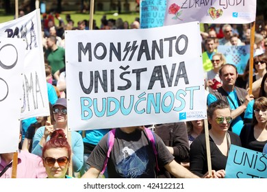 ZAGREB,CROATIA-MAY 21,2016:Protesters march with signs raised through Zagreb in a protest against US biotechnology group Monsanto and against TTIP agreement.Sign that says Monsanto destroys the future