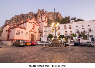 ZAHARA DE LA SIERRA SPAIN ON OCTOBER 2017: Zahara de la Sierra in Grazalema mountains Cadiz province Andalusia Spain Santa Maria de la Mesa church