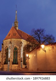Zahrada Za svatynemi crhurch in Prague after dusk.  - Shutterstock ID 1897926883