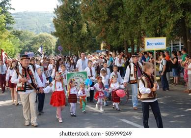 Zakarpattia, UKRAINE - September 6, 2016: Children in costumes at the festival Ukrainian Hutsul cheese