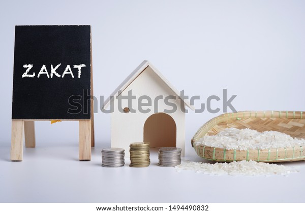 zakat word coin stacked rice grain stock photo edit now 1494490832 shutterstock