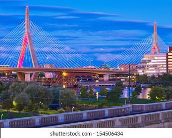 The Zakim Bunker Hill Memorial Bridge on a Summer Evening