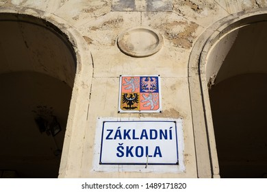 Zakladni skola (transltion from Czech: Primary school) - public institution for education of pupils. Building in bad condition - worsening, degradation, decline, decay of education in Czech Republic - Shutterstock ID 1489171820