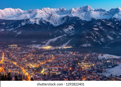 Zakopane by night, Mountains Tatry landscape, Poland, Europe