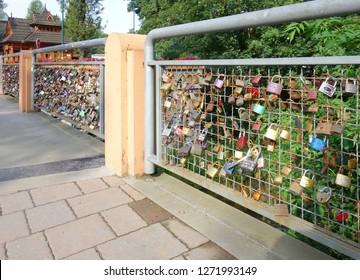 Zakopane, love bridge, padlocks of lovers. ZAKOPANE,, POLAND,  AUGUST 27 2017