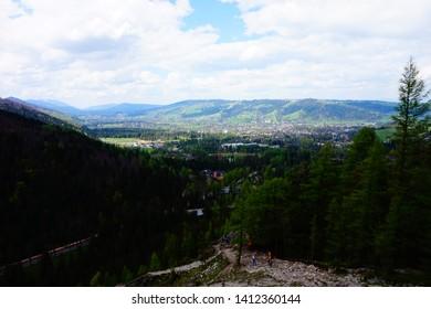 Zakopane, Malopolskie, Poland - 18 May 2019: Zakopane seen from a trail leading to Nosal peak