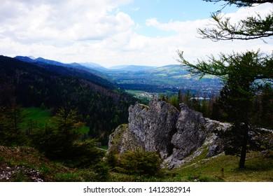 Zakopane, Malopolskie, Poland - 18 May 2019: View on Zakopane form a trail leading to Nosal peak