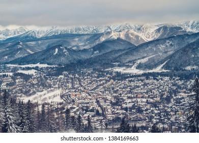 Zakopane, Małopolskie / Poland - 01.12.2018: A beautiful view from Gubałówka to Zakopane and the Tatra Mountains