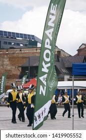 Zakopane, Poland - 03 June 2019: Military schools contest show up. Promotion winder of Zakopane located on the Independence Square in Zakopane Poland.
