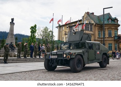 Zakopane, Poland, 06 04 2019: Military parade at the end of the military school drill list at Independence Square at the Grunwald monument in Zakopane