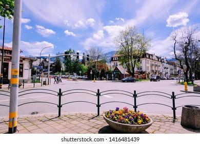 Zakopane/ Poland - 25 May 2019 ; View on mountains from main street of Zakopane.