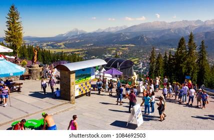 Zakopane, Poland: AUG 27, 2016: beautiful view from Gubalowka Park. High Tatra mountains in the distance