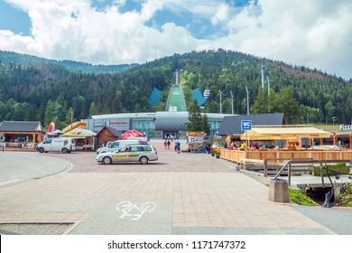 Zakopane, Poland - August 10, 2018: Wielka Krokiew (The Great Krokiew, in Polish krokiew means rafter) is the one - the biggest - of ski jumps built on the slope of Krokiew mountain in Zakopane