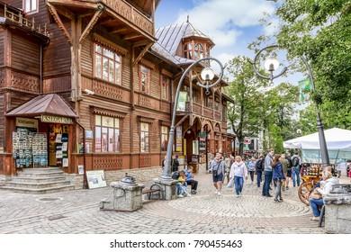 ZAKOPANE, POLAND - AUGUST 12, 2016: Krupowki street, the main city promenade in Zakopane, Poland.