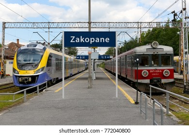 Zakopane, Poland - August 15, 2017: Electric traction units stopped on both sides of the platform at the terminal station, and they waits for the departure on the next journey.