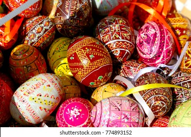 Zakopane, Poland - August 15, 2017: Colorful Easter eggs. Each object is different, because it was created as a result of a manual individual artistic work.