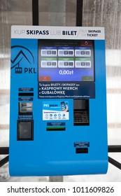 Zakopane, Poland - DEC 31, 2017: Ticket-issue machine on polish mountain resort at Kasprowy wierch