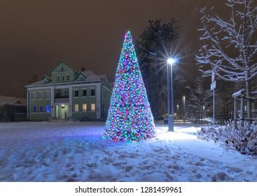 ZAKOPANE, POLAND - DECEMBER 24, 2018: The Christmas tree in the snow-covered winter Park in Zakopane. Poland.