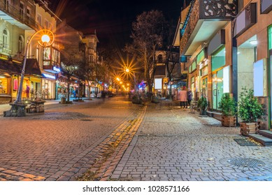 ZAKOPANE, POLAND. Famous Krupowki street in at winter time.