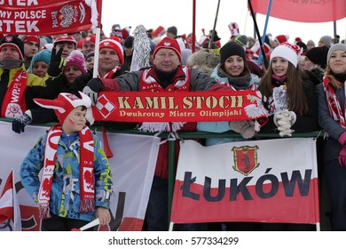 ZAKOPANE, POLAND - JANUARY 23, 2016: FIS Ski Jumping World Cup in Zakopane o/p fans