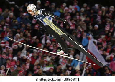 ZAKOPANE, POLAND - JANUARY 24, 2016: FIS Ski Jumping World Cup in Zakopane o/p LUCA EGLOFF SUI