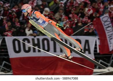 ZAKOPANE, POLAND - JANUARY 24, 2016: FIS Ski Jumping World Cup in Zakopane o/p DAWID KUBACKI POL