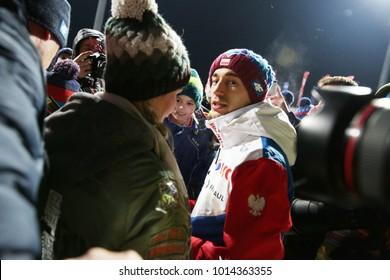 ZAKOPANE, POLAND - JANUARY 26, 2018: FIS Ski Jumping World Cup in Zakopane o/p Kamil Stoch, Ewa Bilan-Stoch,