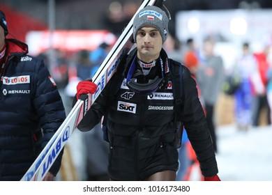 ZAKOPANE, POLAND - JANUARY 26, 2018: FIS Ski Jumping World Cup in Zakopane o/p Maciej Kot