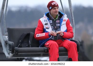 ZAKOPANE, POLAND - JANUARY 28, 2018: FIS Ski Jumping World Cup in Zakopane o/p Stefan Horngacher