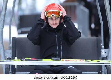 ZAKOPANE, POLAND - JANUARY 28, 2018: FIS Ski Jumping World Cup in Zakopane o/p Richard Freitag