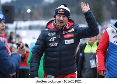ZAKOPANE, POLAND - JANUARY 28, 2018: FIS Ski Jumping World Cup in Zakopane o/p Adam Malysz
