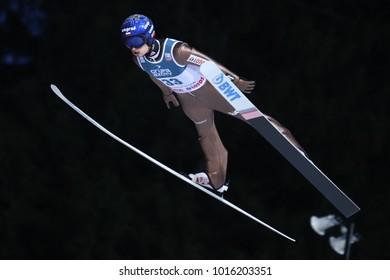 ZAKOPANE, POLAND - JANUARY 28, 2018: FIS Ski Jumping World Cup in Zakopane o/p Maciej Kot