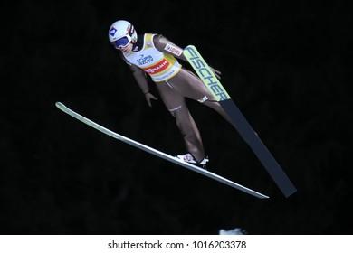 ZAKOPANE, POLAND - JANUARY 28, 2018: FIS Ski Jumping World Cup in Zakopane o/p Kamil Stoch