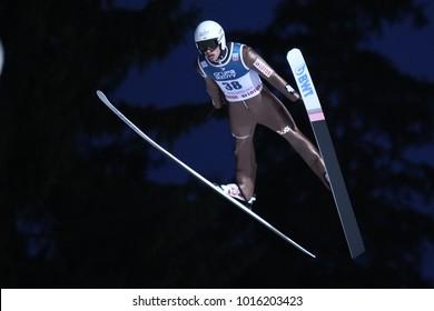 ZAKOPANE, POLAND - JANUARY 28, 2018: FIS Ski Jumping World Cup in Zakopane o/p Piotr Zyla