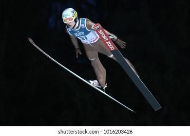 ZAKOPANE, POLAND - JANUARY 28, 2018: FIS Ski Jumping World Cup in Zakopane o/p Stefan Hula