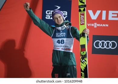 ZAKOPANE, POLAND - JANUARY 28, 2018: FIS Ski Jumping World Cup in Zakopane o/p Andreas Wellinger