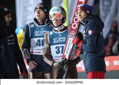 ZAKOPANE, POLAND - JANUARY 28, 2018: FIS Ski Jumping World Cup in Zakopane o/p Stefan Hula, Maciej Kot, Dawid Kubacki, Kamil Stoch