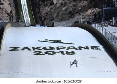 ZAKOPANE, POLAND - JANUARY 28, 2018: FIS Ski Jumping World Cup in Zakopane o/p Wielka Krokiew
