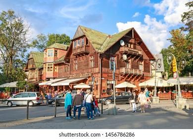 ZAKOPANE, POLAND - JULY 27, 2018: Krupowki street, the main city promenade in Zakopane, Poland.