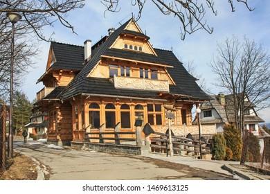 ZAKOPANE, POLAND - MARCH 17, 2018: Wooden architecture of Zakopane, Poland.