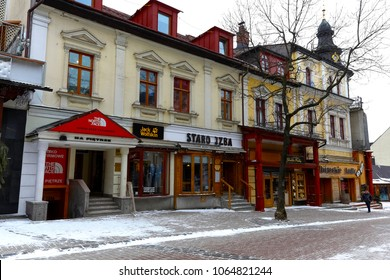 Zakopane, Poland - March 19, 2018: The tenement house is located at Krupowki Street. This brick house dates back to the turn of the 19th and 20th centuries and is known locally as Leisten's house.