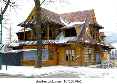 Zakopane, Poland - March 19, 2018: The old villa, commonly known as Turnia , dates back to 1906. Today, as you can see, it is abandoned, neglected and very damaged