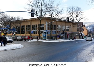 Zakopane, Poland - March 21, 2018: The building, commonly known as the Wierchy Restaurant, dates back to 1962 and was one of the most prestigious buildings in the city, and now houses a sports shop.
