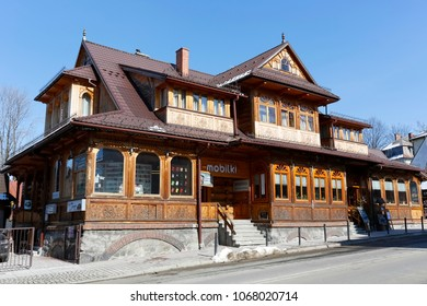 Zakopane, Poland - March 22, 2018: Large historic villa built of wood in 1903. This building is known under the local name of Slimak, formerly also known as Janina or Zoska