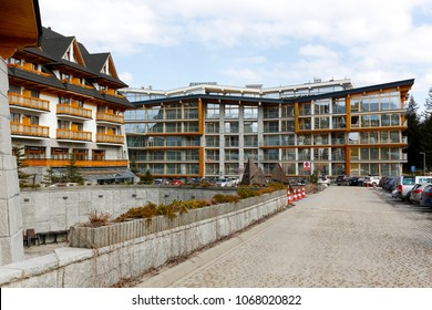 Zakopane, Poland - March 24, 2018: Large and modern hotel buildings, which have been designed for a large number of guests. The hotel is located on the outskirts of the city.