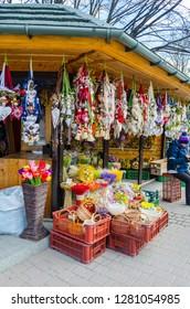 ZAKOPANE, POLAND - MARCH 25, 2016: Souvenirs on famous Krupowki street in Zakopane