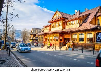 ZAKOPANE, POLAND - MARCH 25, 2016: Famous Krupowki street in Zakopane